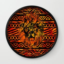 Textured Ethnic and Animal Print and Lion Wall Clock