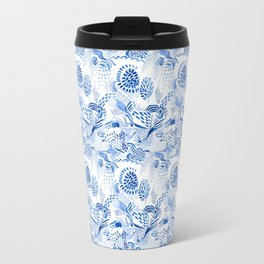 Blue on white birds over paisley Travel Mug