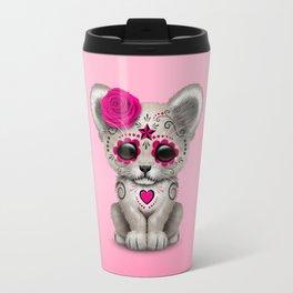 Pink Day of the Dead Sugar Skull White Lion Cub Travel Mug