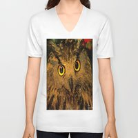 owls V-neck T-shirts featuring Owls by Ganech joe