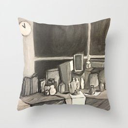 As Time Passes in Black and White Throw Pillow