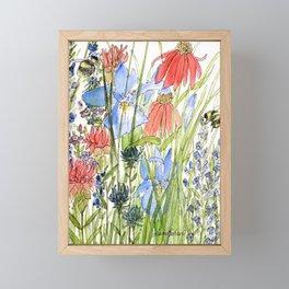 Botanical Garden Wildflowers and Bees Framed Mini Art Print
