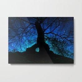 Tree under a spangled sky (dark version) Metal Print