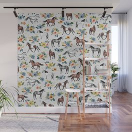 Horses and Flowers Pattern, Floral Horses, Hand-Painted, Horse Love, Watercolor, For Girls Wall Mural