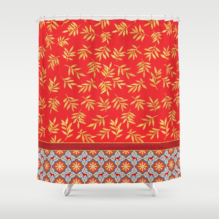 RED WEIMS AND GOLD LEAVES Shower Curtain by bluweimdesigns | Society6