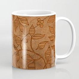 Brown Wood Carved Leafs Pattern Coffee Mug