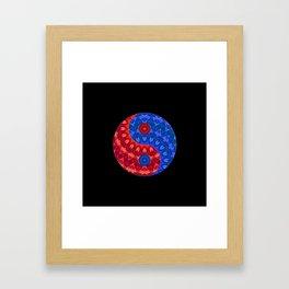 Red blue Yin a Yang Framed Art Print
