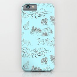 Arctic Wildlife Pattern (Light Blue and Brown) iPhone Case