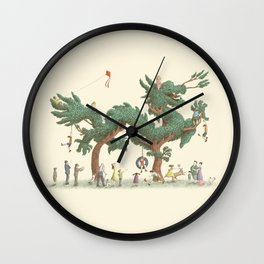 The Night Gardener - Dragon Topiary  Wall Clock