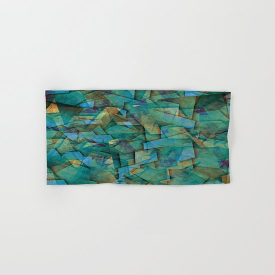 Fragments In blue - Abstract, fragmented art in blue Hand & Bath Towel