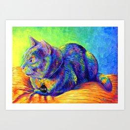 Psychedelic Spirit Rainbow Cat Art Print