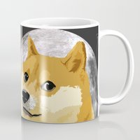 doge Mugs featuring Doge to the moon! by Rhodium Clothing