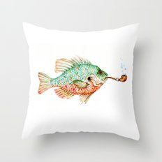 River Sunfish with a Pipe Throw Pillow