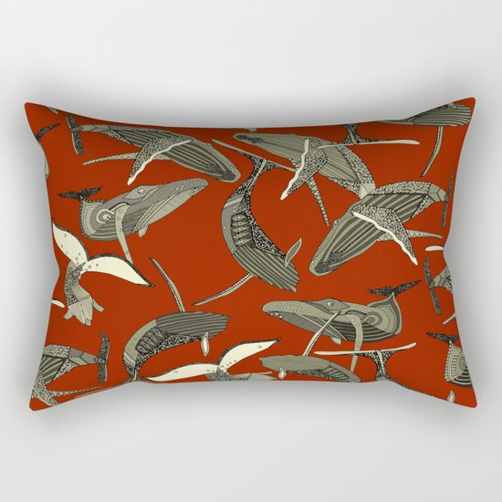 just whales red Rectangular Pillow
