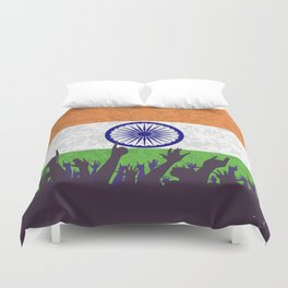 India Flag with Audience Duvet Cover