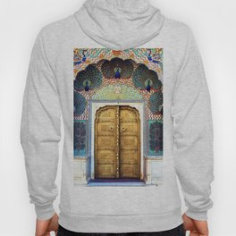 India Palace Ornate Gold Doorway with Peacocks Photograph Hoody