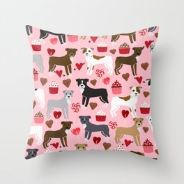 Pitbull valentine dog love rescue dogs valentines day hearts cupcakes dog gifts Throw Pillow