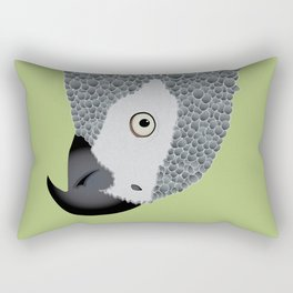 African Grey Parrot [ON MOSS GREEN] Rectangular Pillow