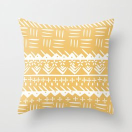 Tribal monochrome mudcloth Throw Pillow
