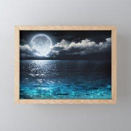 Full Moon over Ocean Framed Mini Art Print