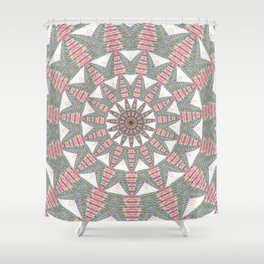 Soft Warm Pink Geometric Weaving Boho Mandala Shower Curtain