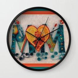 Teal Orange MOM Wall Clock