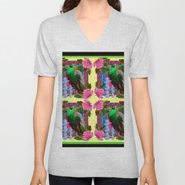 PINK ROSES & GREEN PEACOCK YELLOW GARDEN FLORAL ABSTRACT Unisex V-Neck
