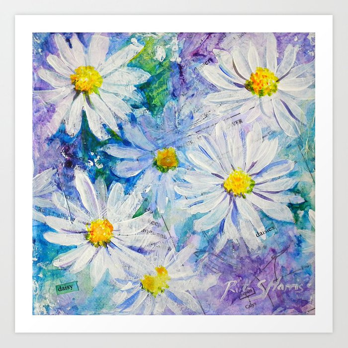 Daisy Daisies Floral Mixed Media Painting Flower Art Art