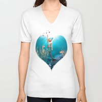 little mermaid V-neck T-shirts featuring Little Mermaid by Simone Gatterwe