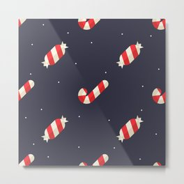 Red Christmas Peppermint Pattern Metal Print