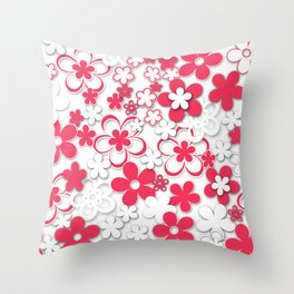 Red and white paper flowers 2 Throw Pillow