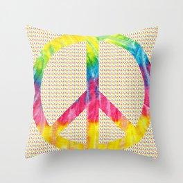 Tie-Dye Peace Sign Throw Pillow