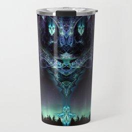 Midnight Aura - Fractal Manipulation - Manafold Art Travel Mug
