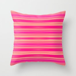 Coral and Pink Brush Stroke Painted Stripes Throw Pillow