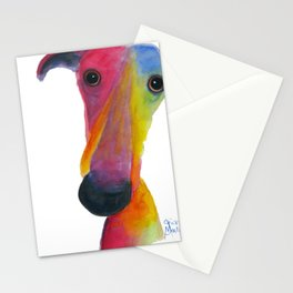 Nosey Dog Whippet Greyhound ' PUMPKIN ' by Shirley MacArthur Stationery Cards