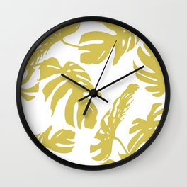 Simply Mod Yellow Palm Leaves Wall Clock