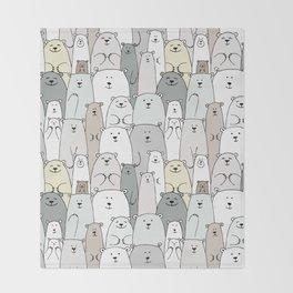 Bear family cartoon Throw Blanket