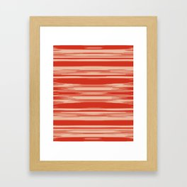 Red Abstract Linear Minimal Pattern Framed Art Print