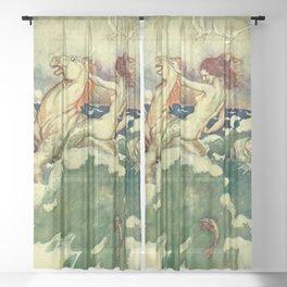"""Mocca"" Mermaid by Erich Schutz Sheer Curtain"