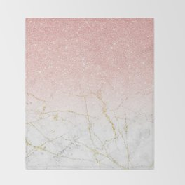 Rose Gold Glitter and gold white Marble Throw Blanket