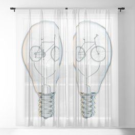 Light Bicycle Bulb Sheer Curtain