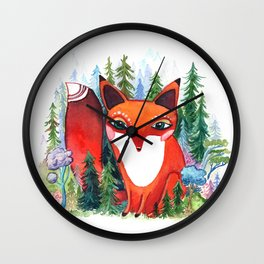 Forest Spirit Red Fox Totem Wall Clock