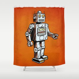 Retro Robot Toy Shower Curtain