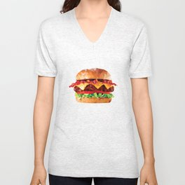 Geometric Bacon Cheeseburger Unisex V-Neck