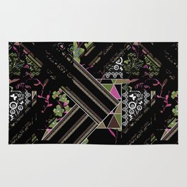 Floral-geometric pattern on a black background. Rug