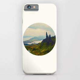 Mid Century Modern Round Circle Photo Magical Landscape Volcanic Mountains Rolling Green Hills iPhone Case