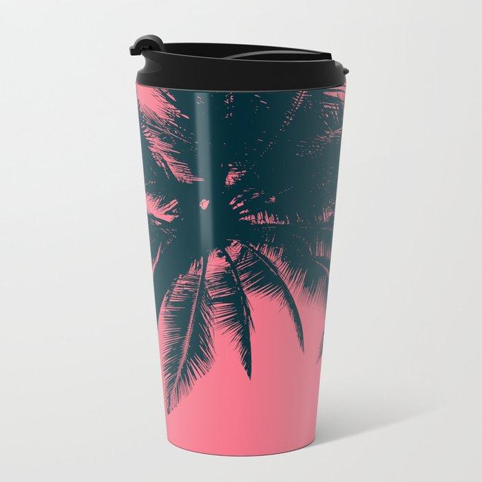 Pink palms in summer Metal Travel Mug
