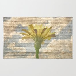 Shabby Chic Style Flower Over Blue Sky Photo Rug