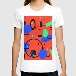 Retro abstract red print T-shirt