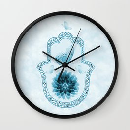 Butterfly Lotus Blue Hamsa Hand Wall Clock